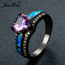 JUNXIN Charm Female Blue Fire Opal Heart Ring Elegant Purple Ring Black Gold Filled Jewelry Vintage Wedding Rings For Women(China)