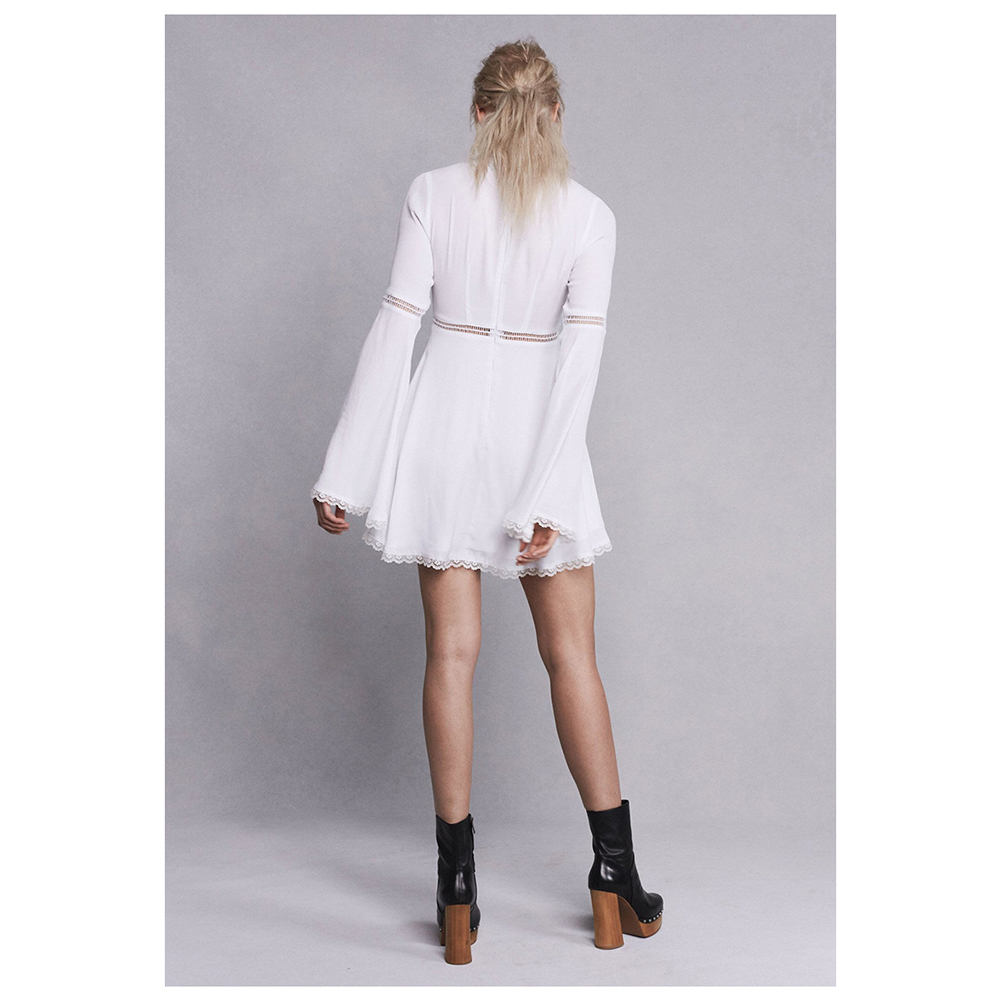 Women's Summer European High-end Formal Party White Chiffon Lace A-Line Dresses Female Big Flare Long Sleeve Dress