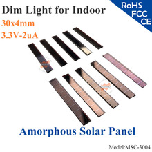 30x4mm 3.3V 2uA dim light Thin Film Amorphous Silicon Solar Cell ITO glass for indoor Product,calculator,toy,0-3V battery