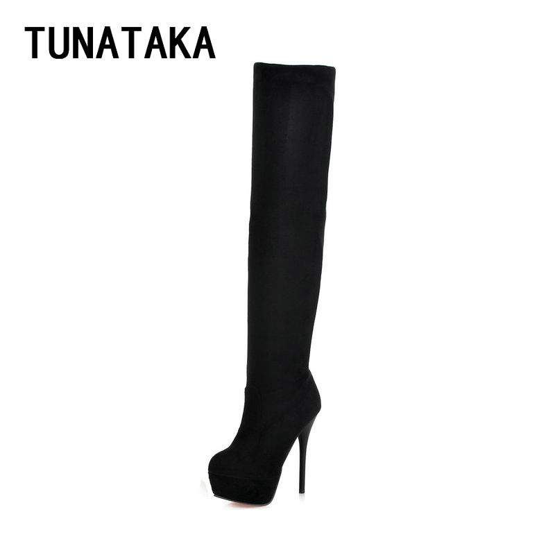 Womens Thigh High Boots Stiletto Heel Sexy Party Over the Knee Boots Platform Heels Black<br>
