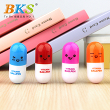 free shipping 12pcs/lot Kawaii Creative cartoon Pill Ball pen,personalized design Advertising Capsule Smiling Face pen(China)