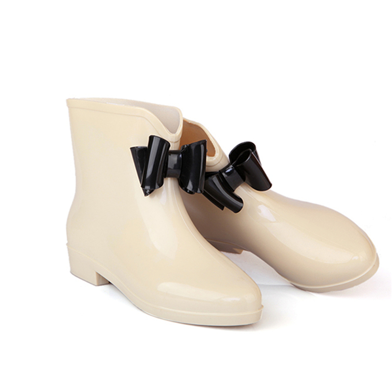 Fashion sweet female bow ankle rain new fashion jelly weightless soft ladies rubber boots for women rain waterproof shoes women<br><br>Aliexpress