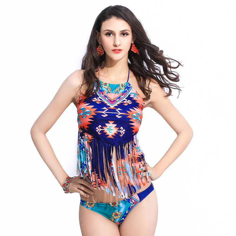 New Unique Tassel Halter Neck Swimsuit Digital Printed Swimwear Womens Sexy Monokini Bathing Suit Maillot De Bain Femme Biquini<br><br>Aliexpress