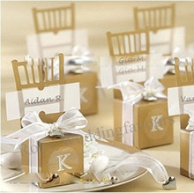 Free Shipping 100PCS Miniature Gold Chair Box with Heart Charm+Ribbon +Paper card Party Favor Boxes Events Reception Decor Ideas