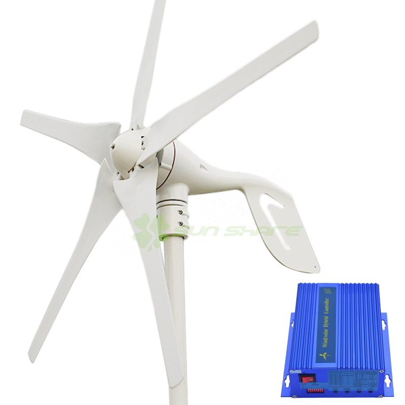 400w wind turbine Max power 600w 5 blades small wind mill low start up wind generator + 700w wind solar hybrid controller(China)