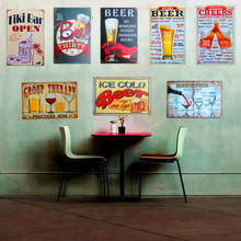 Plaque Beer Vintage Metal Tin Sign Wall Sticker Decoration Bar Home Wall Decor ART Poster Plate For Pub Coffee Christmas 30x20cm(China)