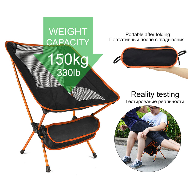 Folding Chair Seat Outdoor-Tools Fishing Picnic Ultra-Light Beach 150kg BBQ Hiking High-Load title=