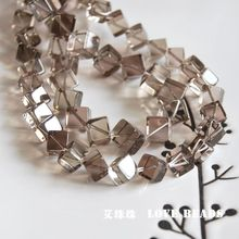 "wholesale 14.5""/38cm natural stone smoky crystal cube 6mm/8mm/10mm loose beads DIY jewelry making craft findings for bracelet"