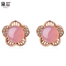 8mm Natural semi-precious stones pink Five petals flowers chalcedony Earrings female girlfriend gift lunar Earrings