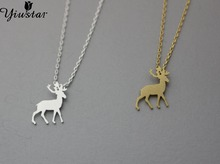 Yiustar 10pcs/lot Origami Antler Deer Necklace in Gold and Silver Bridesmaid Necklace  XL185