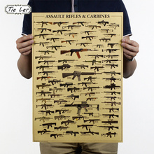 World Famous Gun Posters Military Fans Vintage Poster Kraft Paper Decorative Painting 51x35.5cm Paper Posters Wall Sticker