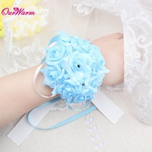 6pcs 9 heads Wrist Flower Silk Ribbon Bride Corsage Wedding party Hand Decor Wristband Bracelet Bridesmaid Curtain clip Bouquet
