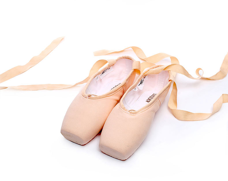 fan wu fang 2017 New Pink Canvas Satin Adult Ballet Pointe Dance Toe Shoes Ladies Professional Ribbons Shoes Woman Gel Toe Pad
