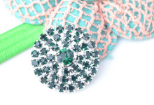 Free Shipping Flat Back Emerald Dark Green Rhinestone Embellishment Button 25mm 20pcs/lot Silver Color