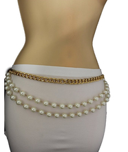 TFJ Women's Fashion Belt Hip High Waist Chunky Metal Chains Pearl Beads S M L Gold Waist chain
