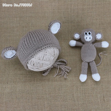 New Baby Monkey Hat Newborn Knit Hat Knit Monkey Hat Baby Boy Photo Prop Baby Girl Photo Prop Monkey toy