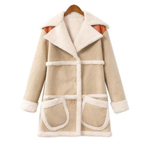 2016 Winter New women lamb wool coat Suede Leather Long section Fleece Coats Thick Warm Lamb Wool coat fashion loose wollen coat