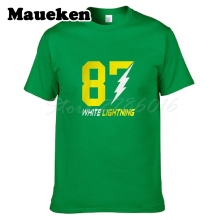 Men WHITE LIGHTNING #87 Jordy Nelson T-shirt Green Bay Clothes Short Sleeve T SHIRT Men's Fashion W0122010(China)
