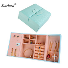 Starlord Jewelry Box Small Portable PU Leather Travel Red/Pink Organizer Display Storage Case for Rings Earring Necklace OB103(China)