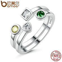 BAMOER 100% 925 Sterling Silver Double Layer Finger Ring Set & Clear CZ Vintage Rings Adjustable Sterling Silver Jewelry SCR106(China)