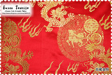 Eason Chinese silk brocade woven damaks fabric cushion popular Red background with Gold Fire Dragon design 7colors
