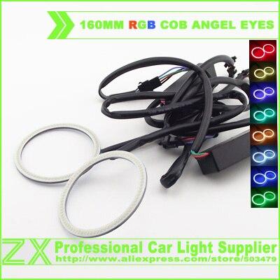 Car styling 2X 1 pair RGB multi-color 160mm 159leds Super Bright COB Led Angel Eyes Halo Ring Light 12-24V for E46 E39 E90<br><br>Aliexpress