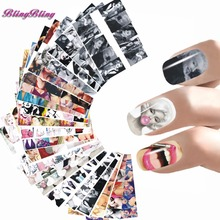 24 sheet Nail Sticker Marilyn Monroe Nail Art Water Decals Audrey Hepburnl Design Nail Wraps Transfer Foil Nails Decorations(China)