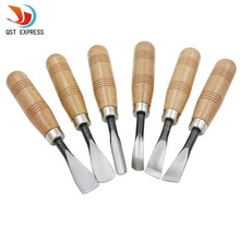 QSTEXPRESS The Best Price 6Pcs Dry hand Wood Carving Tools Chip Detail Chisel set Knives tool