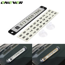 Onever Car Temporary Luminous Magnetic Puzzle Parking Plate Card With Sucker Noctilucous Telephone Phone Number Plate Stop Sign(China)