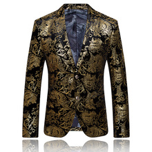 2017 New Arrivals Gold Blazer Men Floral Casual Slim Luxury Print Blazers Jacket Party Stage Costumes Plus Size Cheap Suite