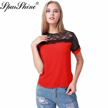 Red White Lace Blouse Chiffon Shirt Tops Women blusa Short Sleeve 2017 Hollow Out Ladies Shirt Office Female Plus Size Clothing