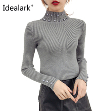 Spanish Style Grey Beading Pearl full Sleeve New autumn winter beading neck short pullovers sweater streetwear WS0010(China)