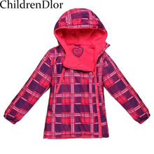 Kids Clothes 2017 Winter Trendy Girls Outwear Warm Infant Coat Plaid Print Kids Jacket with Hoodie Cotton Children Clothing