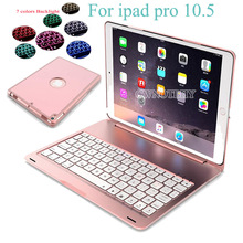 7 Colors Backlit Light Wireless Bluetooth Keyboard Case For iPad Pro 10.5 2017 A1701 A1709 &Aluminum ABS keyboard+film+Stylus