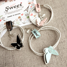 Korea Double Silver Rubber Band Alloy Acrylic Hair Accessories Three-dimensional Butterfly Hair Ties Gum for Hair Bows -3