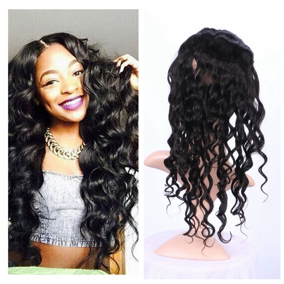 Loose Wave 360 Lace Frontal Closure Pre Plucked Brazilian Virgin Hair 360 Frontal With Natural Hairline Baby Hair<br><br>Aliexpress