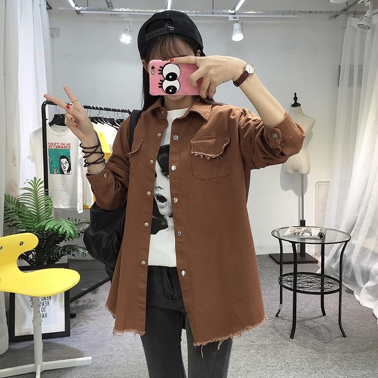 2018 Spring Autumn New Long Section Lapel Tassel Denim Jackets Women Loose Casual Long Sleeve Female\'S Thin Basic Jacket Coats (13)