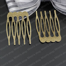 Wholesale 40*25mm Antique Bronze Iron Hair Combs Findings Accessories 30 pieces(JM3278)