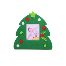 Fashion Non-woven Christmas Photo Frame Picture Holder Frame Xmas Tree Ornaments Gift Home Decor Safety(China)