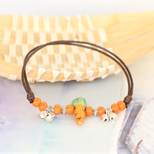Double rope Ceramic beads anklets female Chinese wind bell ceramics adorn article for Girlfriends gifts wholesale #DA2600