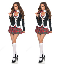 2017 High Quality Sexy Long sleeved Women Sailor Japanese School Uniforms Red Pleated Plaid Skirts For Girls Cosplay Costume