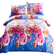 "4pcs/set 200 X 230cm/78.7 X 90.6"" Bedding Set 3D Printed Flower Pattern Quilt Cover Cozy Household Bedding Cover Set for wedding"