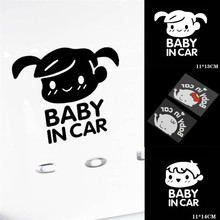 3D Cartoon Car Stickers Reflective Vinyl Styling Kids head pattern, black and white 2-color Baby In Car On Rear Windshield