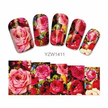 LCJ  Nail Water Transfer Nails Art Sticker Flowers Butterfly Design Nail Wraps Sticker Tips Manicure Nail Supplies Decal 1411