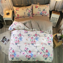 Sookie 3 Pieces King Size Bedding Sets Queen Size Pastoral Style Flower 4pcs Duvet Cover Set Pillow Cases Flat Sheet Bed Linen(China)