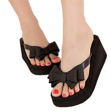 Ladies Summer Platform Flip Flops Thong Wedge Beach Sandals Knot Bow Shoes