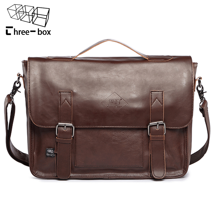 Three-box 2016 Retro PU Leather Men Briefcase Mens Messenger Bags 14 Laptop Business Bag Luxury Handbags Mens Travel Bags<br>