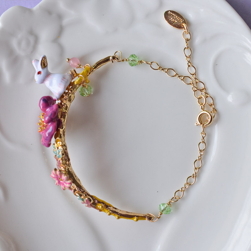 Les Lovely Rabbit Flower Bracelet Bangles Women Party All-match Fashion Jewelry Elegant All-match