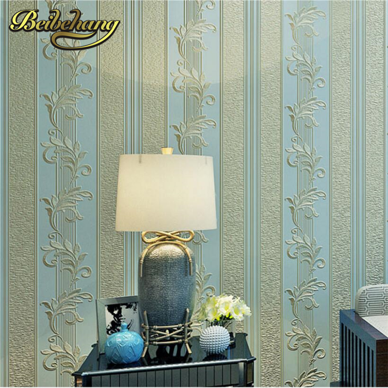 beibehang Luxurious European 3d Stereo Striped Bedroom Living Room TV Background Wall Nonwovens Blue Wallpaper papel de parede<br>