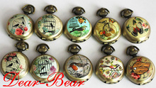 Vintage Brass Birdcage Butterfly Pocket Watch Necklace Mirror Watch, 11pcs/lot , Dia 2.9cm. Free shipping(China)